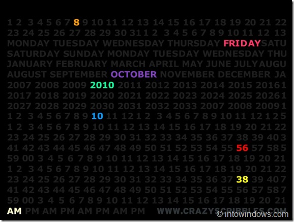 Crazzy Calender Screen Saver For Windows 7