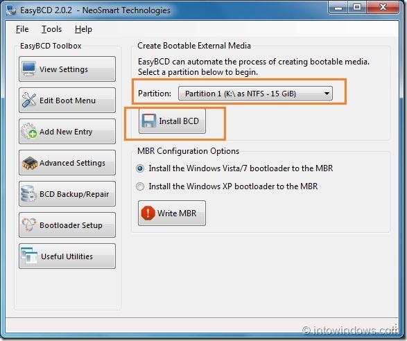 Crear una unidad flash USB de arranque usando EasyBCD step1