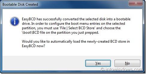 Crear una unidad flash USB de arranque usando EasyBCD step3