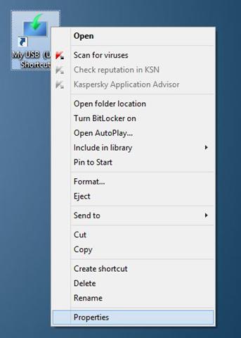 Crear acceso directo de teclado para abrir una unidad USB en Windows step6
