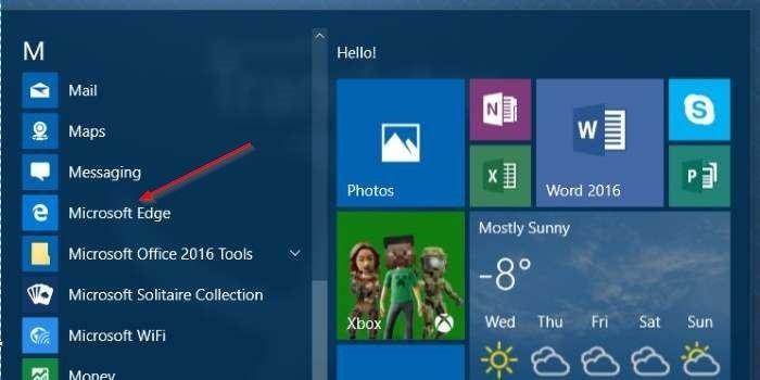 Crear acceso directo de Microsoft Edge en el escritorio en Windows 10 step1