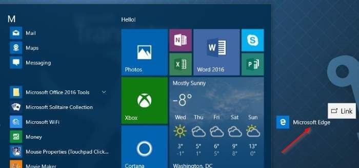 Crear acceso directo de Microsoft Edge en el escritorio en Windows 10 step2