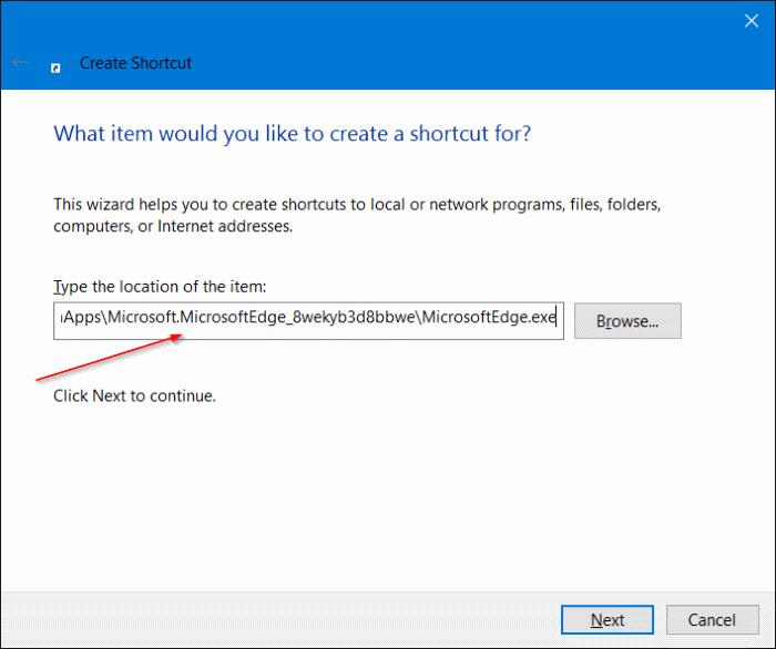 Crear acceso directo de Microsoft Edge en el escritorio en Windows 10 step4.JPG