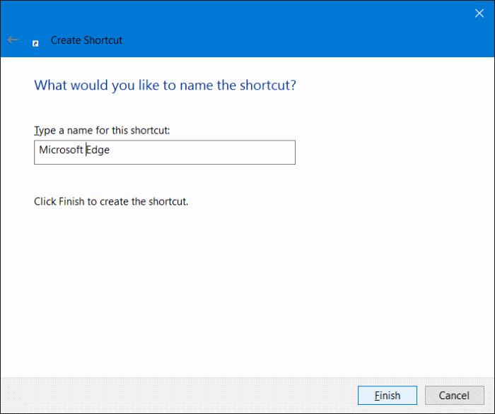 Crear acceso directo de Microsoft Edge en el escritorio en Windows 10 step5