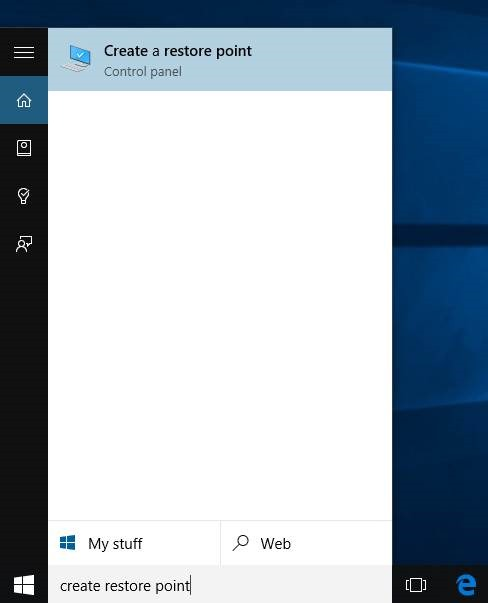 Crear un punto de restauración en Windows 10 step1