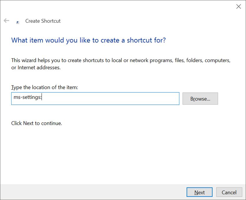 Crear acceso directo al escritorio para Settings app en Windows 10 pic2