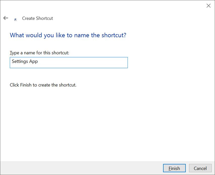 Crear acceso directo al escritorio para Settings app en Windows 10 pic3