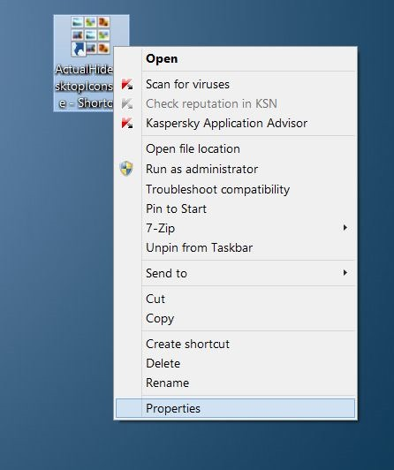 Crear atajo de teclado para mostrar u ocultar los iconos de escritorio picture2