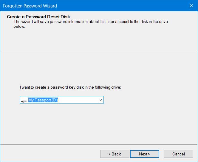 Crear disco de restablecimiento de contraseña en USB En Windows 10 step6