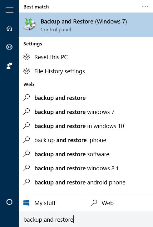 Crear copia de seguridad de la imagen del sistema en Windows 10 step1