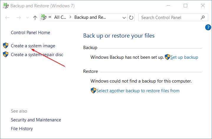 Crear copia de seguridad de la imagen del sistema en Windows 10 step3.1