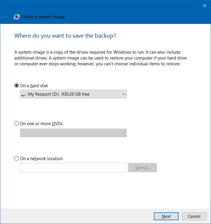 Crear copia de seguridad de la imagen del sistema en Windows 10 step3