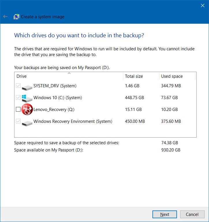Crear copia de seguridad de la imagen del sistema en Windows 10 step4