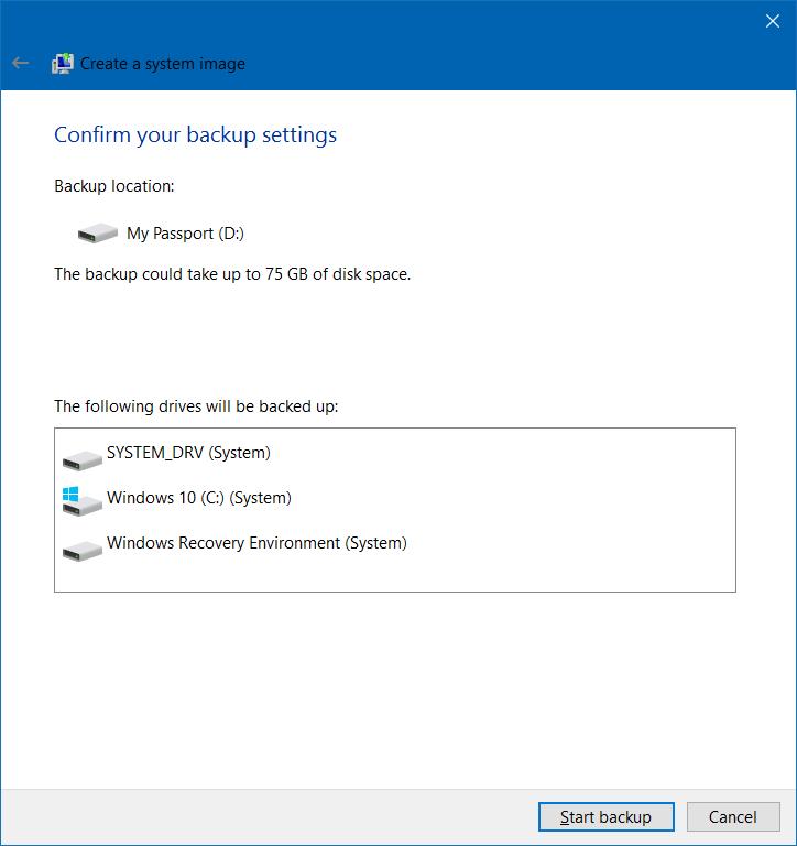 Crear copia de seguridad de la imagen del sistema en Windows 10 step6