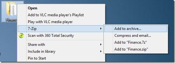 Crear archivo zip con contraseña en Windows 7 Windows 8 Paso 1