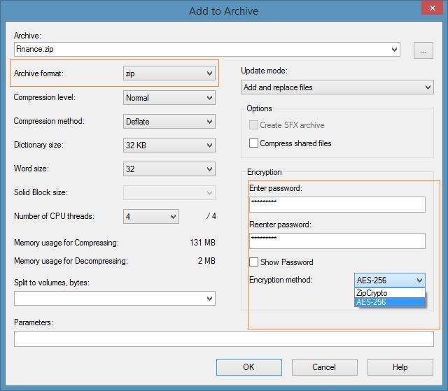 Crear archivo zip con contraseña en Windows 7 Windows 8 Step2