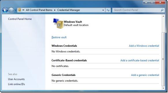 Administrador de credenciales en Windows 7
