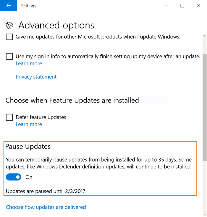 Retrasar o posponer Windows Update Windows 10 (3)