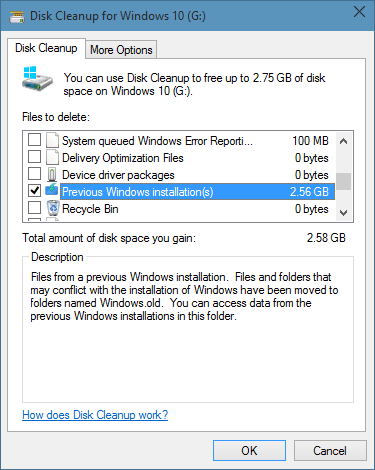Eliminar carpeta Windows.old en Windows 10 step6