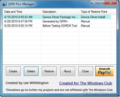 Eliminar punto de restauración individual en Windows 7