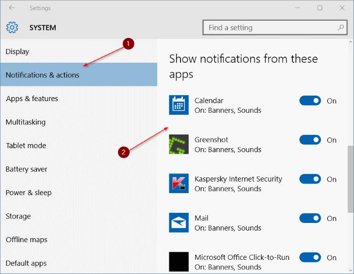 Desactivar sonido de notificación en Windows 10 step3