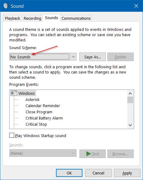 Desactivar sonido de notificación en Windows 10 step7