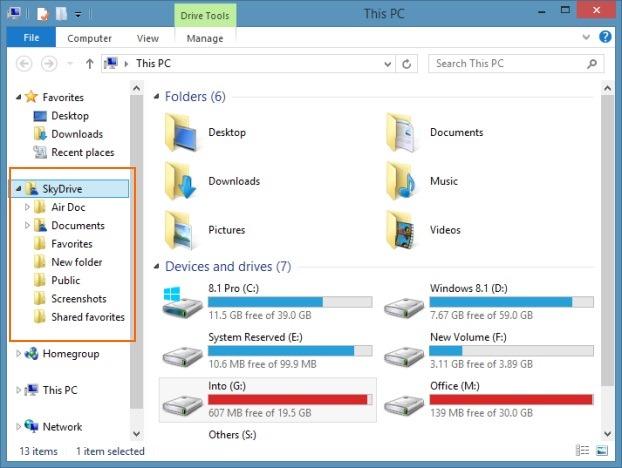 Disable SkyDrive folder in navigation pane Windows 81 Explorer