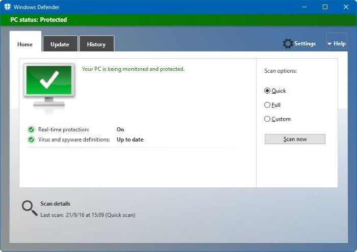 Desactivar Windows Defender Windows 10
