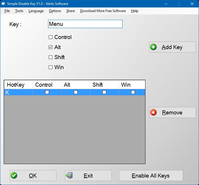 Desactivar cualquier tecla del teclado Windows 10 (2)