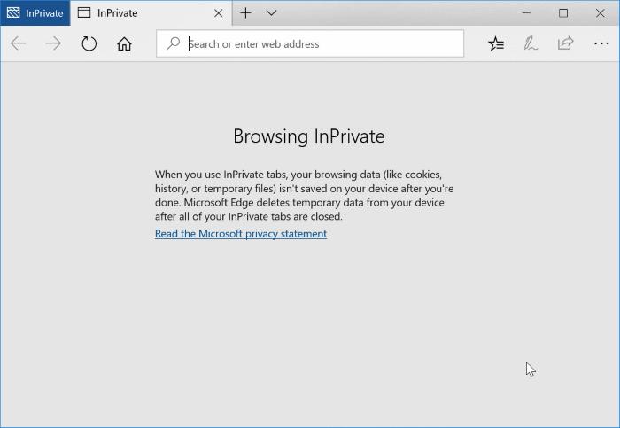 Desactivar la navegación privada en el navegador Edge en Windows 10 pic1