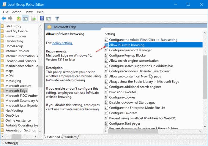 Desactivar la navegación privada en el navegador Edge en Windows 10 pic2