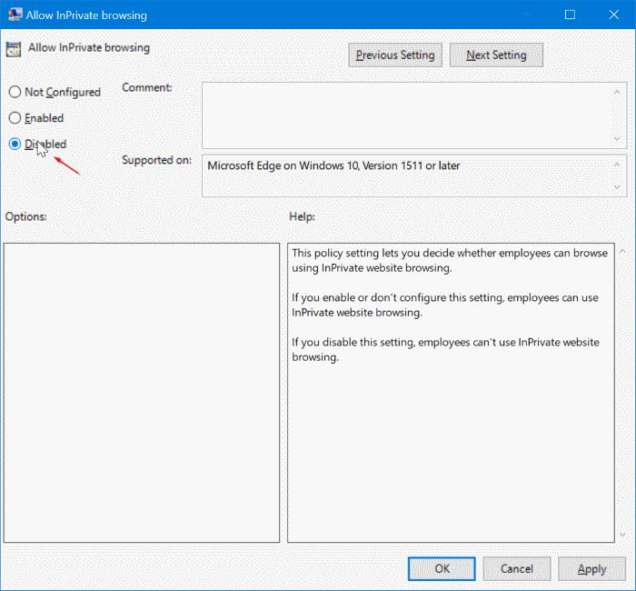 Desactivar la navegación privada en el navegador Edge en Windows 10 pic3
