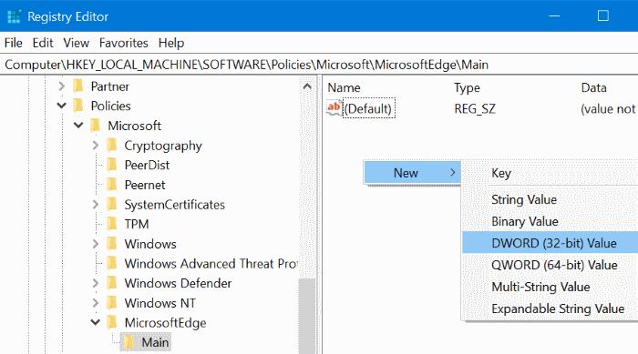 Desactivar la navegación privada en el explorador Edge en Windows 10 pic7