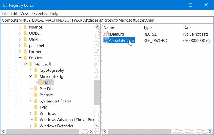 Desactivar la navegación privada en el navegador Edge en Windows 10 pic8