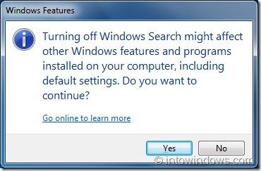 Desactivar función de búsqueda en Windows 7