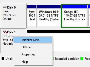 Disco no inicializado en Windows 10 pic1