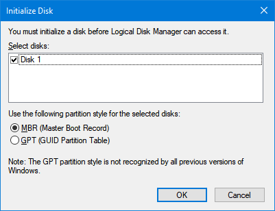 Disco no inicializado en Windows 10 pic2