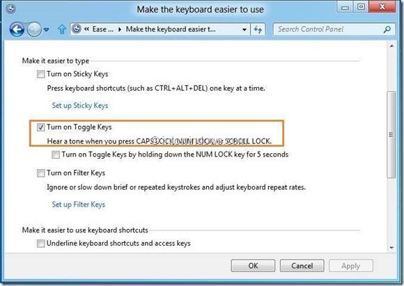 Activar tono de alerta para teclas de bloqueo de mayúsculas, desplazamiento y bloqueo numérico Paso 5