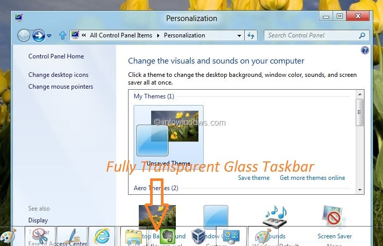 enable glass taskbar in Windows 8 developer preview