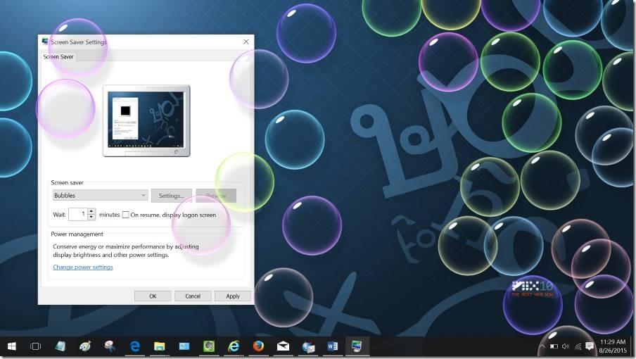 Activar protector de pantalla en Windows 10