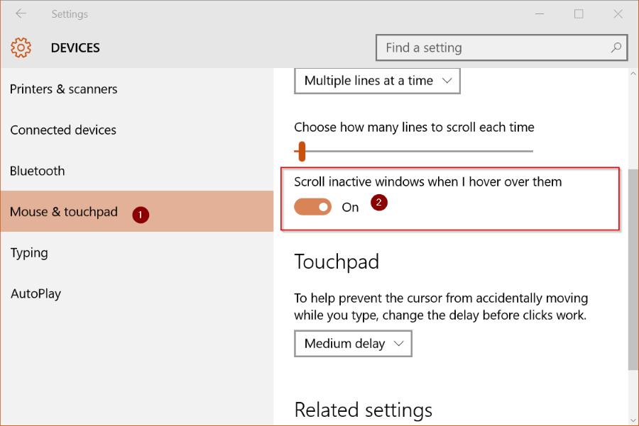 Activar o desactivar el desplazamiento de la ventana inactiva de Windows 10 pic2