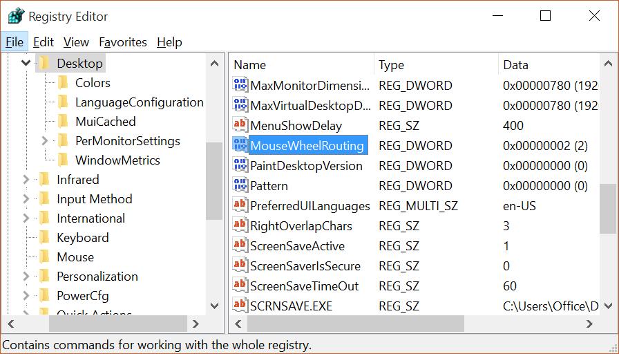 Activar o desactivar el desplazamiento de la ventana inactiva de Windows 10 pic3