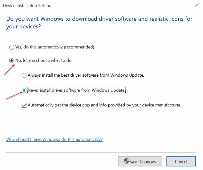 Activar o desactivar la actualización automática del controlador del dispositivo En Windows 10 step4