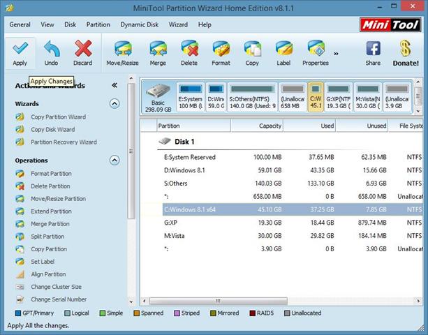 Extender la partición del sistema en Windows 8.1 Método 1 Paso 5