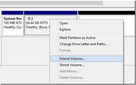 Extender la partición del sistema en Windows 8.1 Paso 4