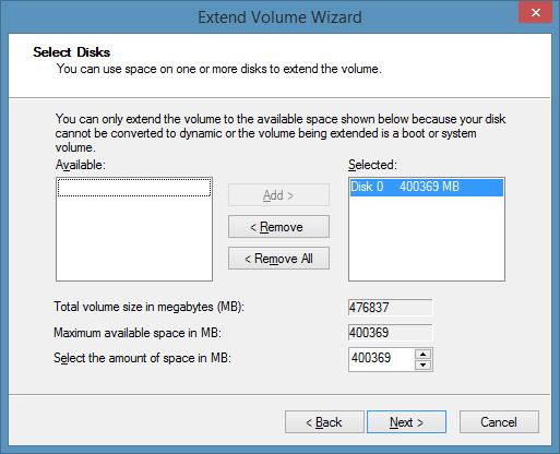 Extender partición de unidad Windows