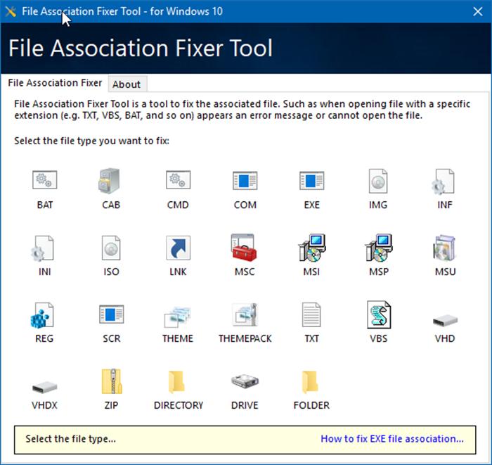 Herramienta de corrección de asociación de archivos para Windows 10