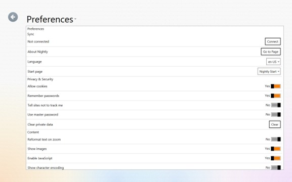 Firefox Settings Preferences