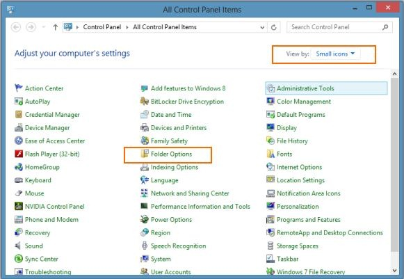 Folder Options in Windows 8 Picture1
