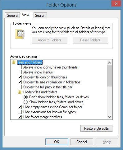 Folder Options in Windows 8 Picture5